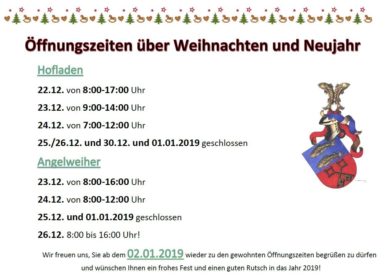 Öffnungszeiten über Weihnachten und Neujahr 2018_2019