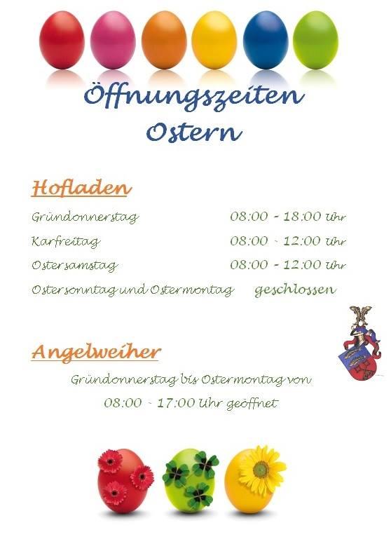 Öffnungszeiten Ostern 2018